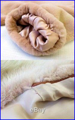 100%Authentic LOEWE Mink Fur Coat Cape Poncho Jacket Pink Size 38 Made In Italy