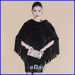 100% Real Black Knitted Mink Fur Cape Stole Coat Warm Wrap Scarf Shawl Ladies