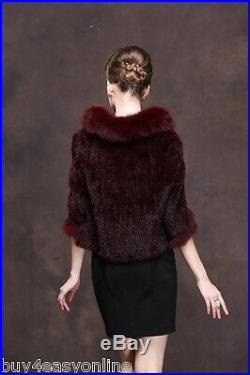 100% Real Burgundy Knitted Mink Fur Fox Collar Cape Stole Shawl Scarf Coat