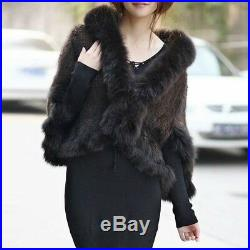 100% Real Genuine Knitted Mink Fur Fox Collar Cape Stole Shawl Scarf Coat Black