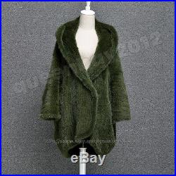 100% Real Knitted Mink Fur Coat Cardigan Outwear batwing sleeves Fashion Hood
