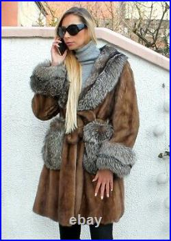100% Real Mink Fur Coat With Fox Coat Outwear Clothing Garment Fashion