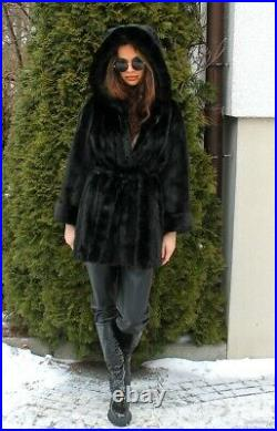 100% Real Mink Fur Coat With Hood Coat Clothing Fashion Trench Black