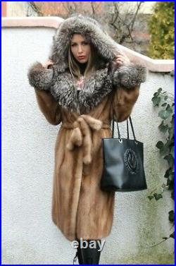100% Real Mink Fur Coat With Hood Coat Outwear Clothing Garment Fashion