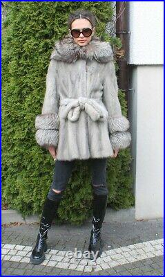 100% Real Mink Fur Coat With Hood Coat Outwear Clothing Garment Fashion Gray