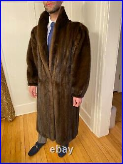 48 Mens Chocolate Brown Mink Real Fur Jacket Size 40R Large Over Top Coat Shawl