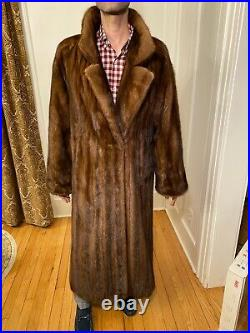 50 Mens Chocolate Brown Mink Real Fur Jacket Size 42R Large Over Top Coat Notch