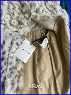 $89,000 VALENTINO Runway Lynx and Mink Fur Coat Dress Size 6 US / 42 EUR
