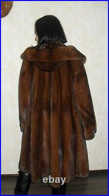 Amazing fur coat made of natural mink fur with a hood not sable, not chinchilla