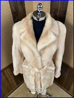 BEAUTIFUL HONEY BROWN COLORED MINK FUR COAT JACKET With ROBE STYLE BELT SMALL 2-4