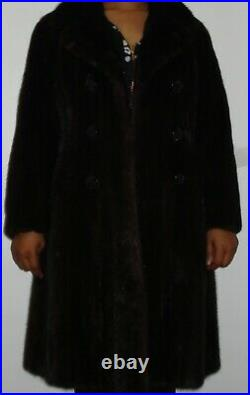 BLACKGLAMA Ranch Mink 66 Swing Fur Coat Size 2-4 EXCELLENT CONDIT Free Shipping