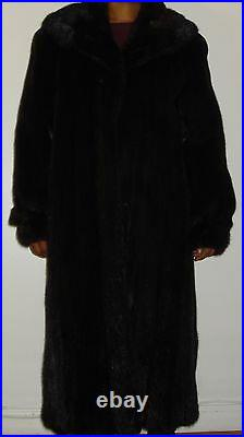 BLACKGLAMA Ranch Mink Fur Coat Size 10-12 Large FREE SHIPPING Excellent Conditio