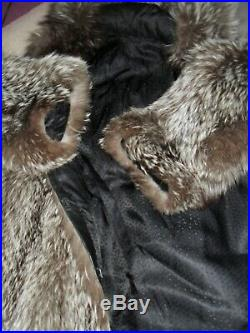 Beautiful fur coat with a hood of a silver fox fox (not mink, not sable)