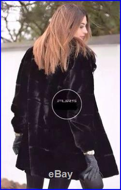 Black Chinchilla Rex Fur Coat With Mink Fur Of The Collar Size Large New