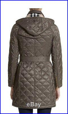 Burberry Baughton Lightweight Diamond Quilted Coat with Detachable Hood Mink Gray
