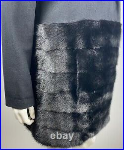 CO Collection Modern Black Wool Black Ranch Mink Real Fur Coat GOOP The Row