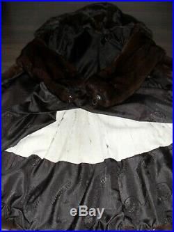 Excellent fur coat from a real mink with a hood in a beautiful form with a hood