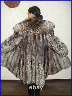 Excellent fur coat made of natural silver fox fur (not mink, not sable)
