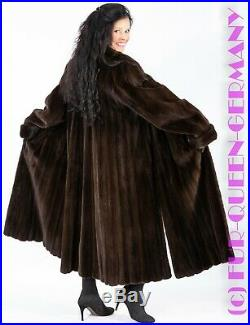 FINE ELEGANT PLUCKED BROWN MINK SWINGER FUR COAT with side cuts + sleeve cuffs