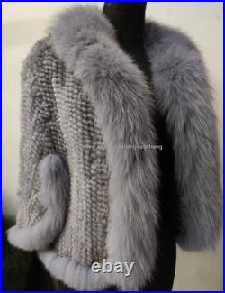 Factory Price 100% Real Mink Fur Knitted Coat with Fox Collar Cape Wraps Gray