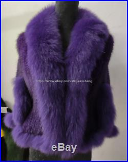 Factory price 100% Real Mink fur knitted Coat With Fox collar Cape wraps purple