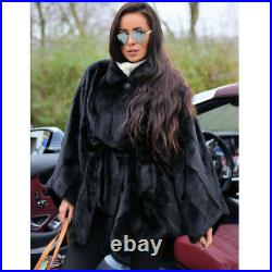 Fashion Women's 100% Real Mink Fur Coat Collar Belted Poncho Cape Jacket Outwear