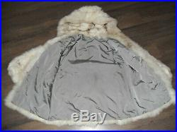 Fur coat made of natural white polar fox fur with a hood (not sable, not mink)