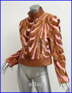 GIANNI VERSACE COUTURE Stripe Tan Pink MINK Fur Leather Bomber Jacket Coat 42/8