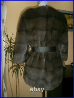 Genuine NERZ MINK fur coat from transverse plates color cappuccino