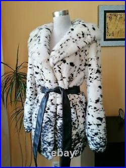 Genuine NERZ MINK fur coat with hood and belt, Ivory with black dots