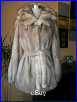 Genuine NERZ MINK fur coat with hood and belt, color crushed ice