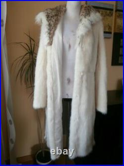 Genuine NERZ MINK fur coat with hood from lynx and belt, Ivory color