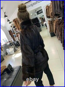 Genuine real mink fur coat 1109378 brown jacket size XL long sleeve with belt