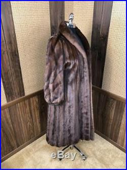 Gorgeous Vintage Lowenthal Full Length Brown Ranch Mink Fur Coat Small 4 6