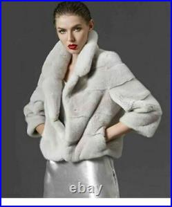 Gray Cropped Mink Fur Coat 4/5 Sleeves Notched Collar Gray or Brown Color Saga