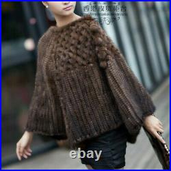 Hand Knitted Real Genuine Mink Fur Poncho Stole Cape Jacket Coat Ladies Vintage