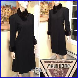 J Percy for MARVIN RICHARDS Size 4/Small Black 100% Wool & Mink Fur Swing Coat