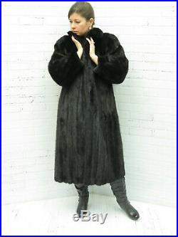 Ladies SHOWROOM brand NEW! ALFRED SUNG real JET BLACK RANCH MINK FUR COAT md