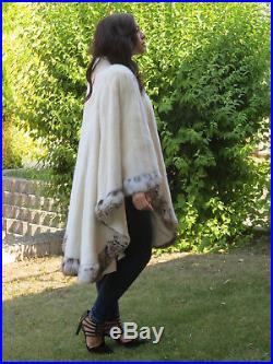 Ladies real 15$K-NEW WHITE MINK & EXOTIC TRIMMED FUR CAPE coat CLOAK 200 FLARE