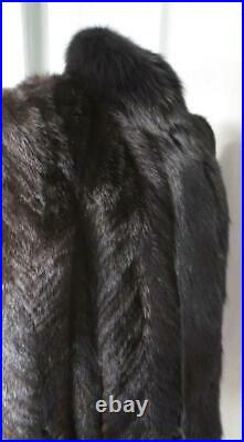 Luscious Deep Shiny Brown Mink Fur Glam Coat With Wide Blk Fox Fur Collar Large