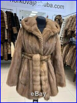 Luxury Womens Real 100%1109297Mink brown Fur Coat Hooded Jacket with belt size S