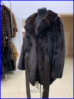 Luxury Womens Real mink brown Fur 1108993 Coat Jacket with leather belt size L