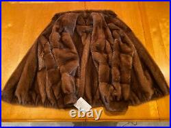 Mens Chocolate Brown Mink Genuine Real Fur Zippered Bomber Jacket Coat Large USA
