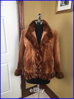 Miller Golden Brown Sheared & Long Haired Mink Ruffled Cropped Fur Coat Jacket L