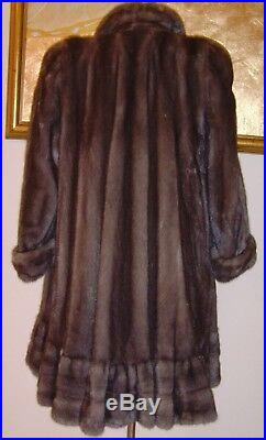 NATURAL Blue Iris Mink Fur Coat with Enormous Swing