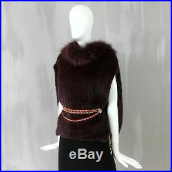 NEW RARE Christian Dior Ladies Knitted MINK FOX Fur Cape Jacket Coat Size 38 S M