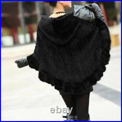 NEW Real Hand Knitted Mink Fur Shawl Wraps Cape Hooded Poncho Fur Coats