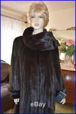 NEW WithTAGS REAL BLACKGLAMA MINK FUR COAT, NOT SABLE, LYNX, CHINCHILLA L-XXL 12-18