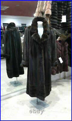 NEW dark brown real mink fur coat trench style GASC