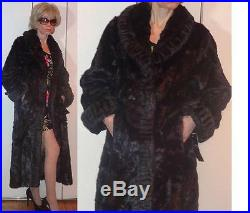 NWT TERRY LEWIS Classic Luxuries LONG BLACK FAUX FUR MINK-LIKE COAT SHIMMERING S